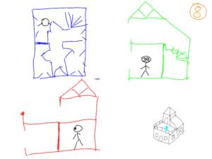 TAK4D - 4D maze - 3D house 3 views from point 2