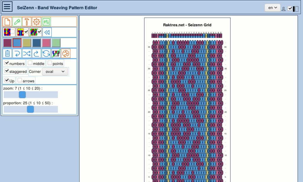 band weaving pattern editor - grid tool