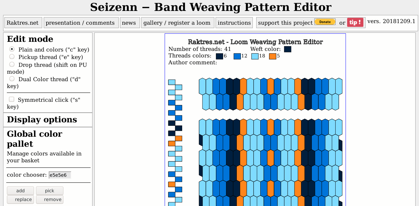 Tissage Weaving Seizenn band pattern editor